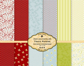 Printable Digital Papers for scrapbooking, card making, Invites, photo cards - Trace