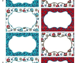 Red and Blue Nautical Print your own Labels/Cards Sailing 3