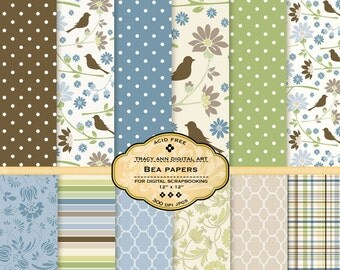 Bea Digital Scrapbook Paper Pack for scrapbooking, card making, photographers, photo cards