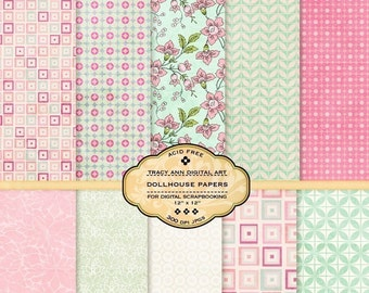 Digital Scrapbook Paper Set - Dollhouse