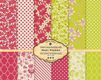 NEW Mary Digital Scrapbook Paper pack for invites, card making, digital scrapbooking