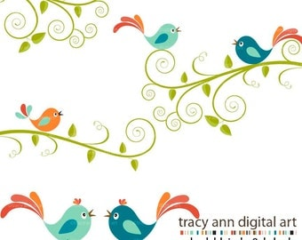 CLIP ART - Bold Birds. swirls and labels,  limited commercial and personal use