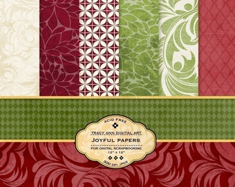 Digital Papers for scrapbooking, card making, Invites, photo cards - Joyful