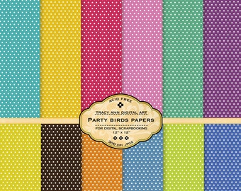 Party Polka Dot Digital Paper pack for invites, card making, digital scrapbooking