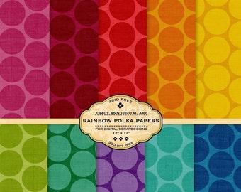 Rainbow Polka Dot Digital Paper pack for invites, card making, digital scrapbooking