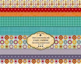 Digital Paper pack for invites, card making, digital scrapbooking - Cindy