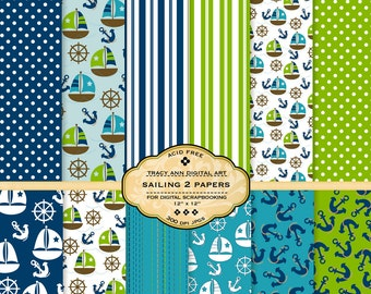 NEW Sailing 2 Digital Papers for scrapbooking, card making, photographers, photo cards