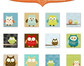 Printable 1 inch Owl Squares Collage Sheet
