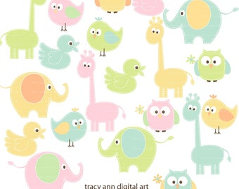 Pastel Animal Clip Art  -  baby animal clipart -  giraffe elephant clip art  - Pastels