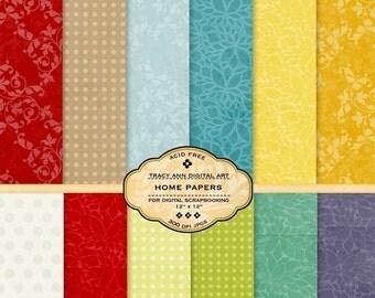 Digital Paper Pack for invites, card making, digital scrapbooking -  Home