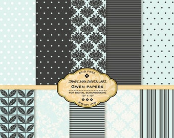 Gwen Digital Paper pack for invites, card making, digital scrapbooking