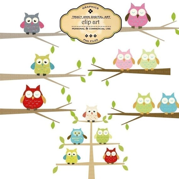 CLIP ART - Owls on branches. Invites, cards, scrapbooking