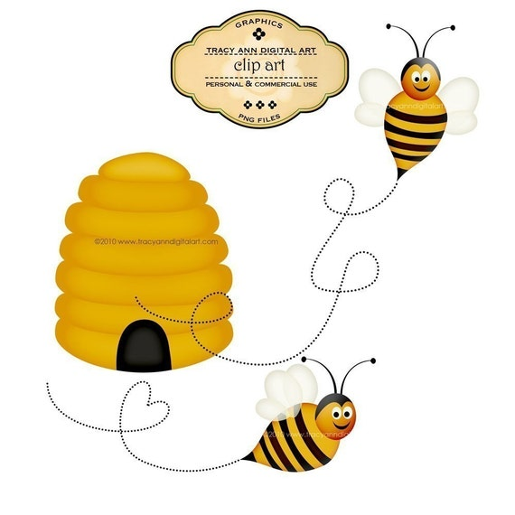 CLIP ART - Honey Bees -  Commercial and personal
