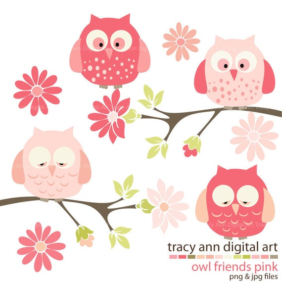 Baby Pink Owl Clip Art - Owls on branches Clip Art