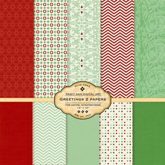 Xmas  Digital Scrapbook  Paper Pack for invites, card making, digital scrapbooking - Greetings 2