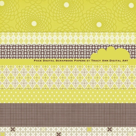 Digital Paper Packs for Scrapbooking, invites, cards - Pace
