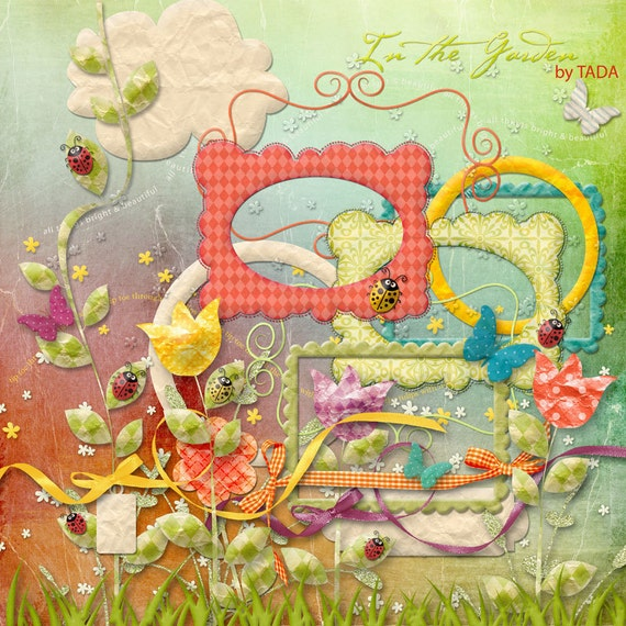 In the garden Digital Scrapbook Kit