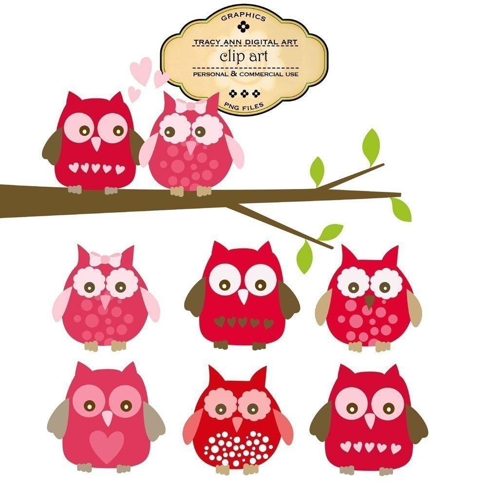 CLIP ART Valentine Owls commercial and by TracyAnnDigitalArt