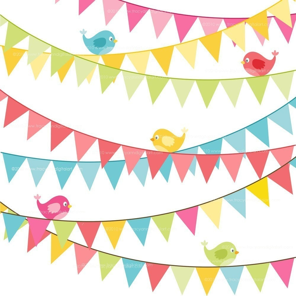 Birthday Flag Banner Clip Art Bright Colors Set 6