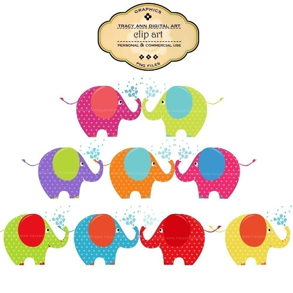 Elephant Clip Art Brights commercial and by TracyAnnDigitalArt