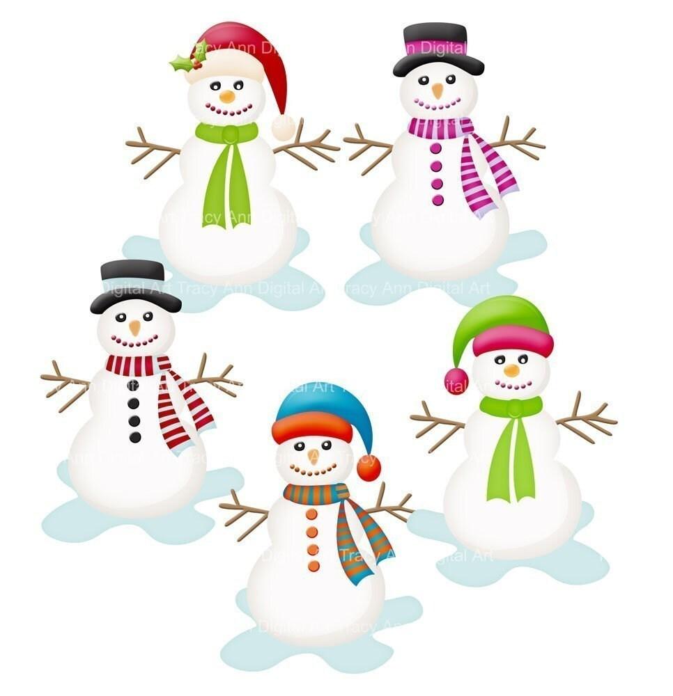 Snowman Clip Art by TracyAnnDigitalArt on Etsy