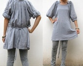Custom Made Boho hippie gypsy  gray  cotton sweet  casual blouse   S - L  (H)