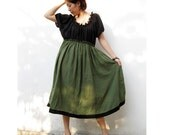 Custom Made Black Green Cotton Patchwork Boho  Maxi Dress  S-L (H)