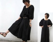 Custom Made Comfort Black Cotton  Maxi Dress / Unique Summer Short  Sleeved Loose Tunic Dress S-XL (H)