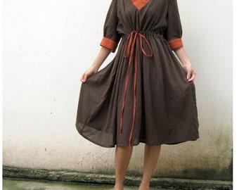 Custom Made Brown cotton  V-neck Orange Hem  Loose Short Dress S-L   (H)