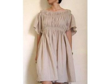 Custom Made Light Brown Cotton Smock Around Neck Blouse  Short Loose Tunic Dress S-L  (H)