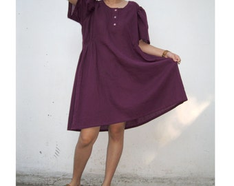 Custom Made Short Purple Cotton Boho Simply Tunic Dress Blouse   (H)