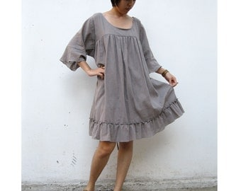 Custom Made Gray Cotton  Loose Boho Simply Short Tunic Women  Dress  One fit all most  S-L (H)