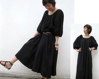 Custom Made Comfort Black Cotton  Maxi Dress / Unique Summer Short  Sleeved Loose Tunic Dress S-XL (D 01)
