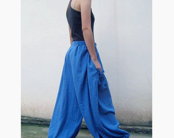 Custom Made Blue Cotton Long Elastic Waist Boho Pants one fit all most (H)