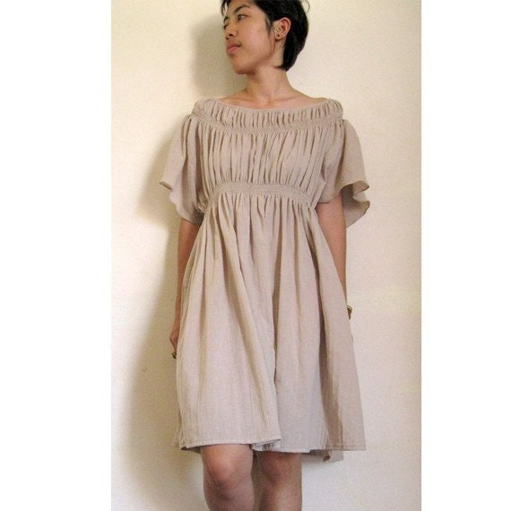 Custom Made Light Brown Cotton Smock Around Neck Blouse  Short Loose Tunic Dress S-L  (H)