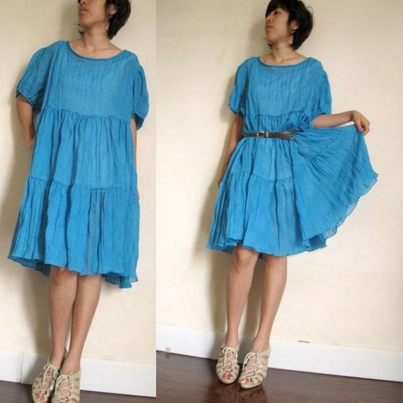 Sweet Blue Dress ..Blouse  S-XL