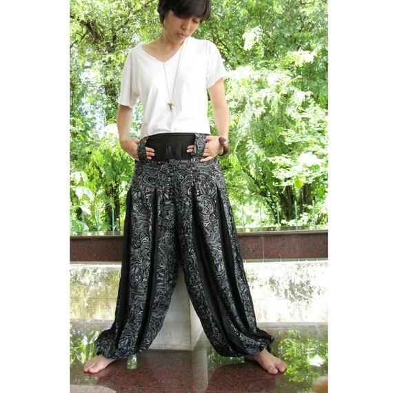 Sale 20 % off Black Floral Cotton Patchwork Long elastic pants( S-L)  N69