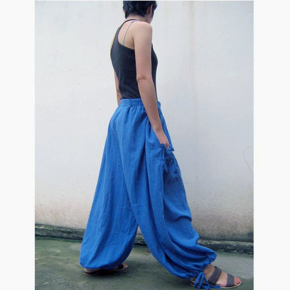 Custom Made Blue Cotton Long Elastic Waist Boho Pants one fit all most (H)