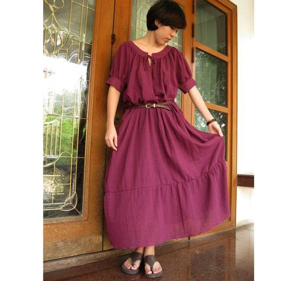 Sale 20 % off Purple  soft cotton maxi dress one fit all most ( T 16)