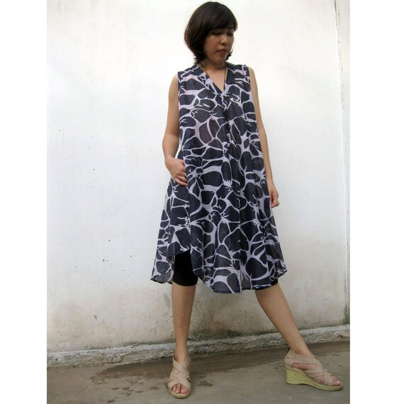 V-Neck Short Black  India  cotton Dress S-L (S01)