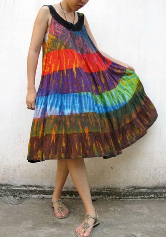 Simply Short Tie Dye Patchwork dress