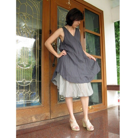 Grey Two layers V-Neck Dress