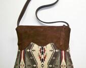Pendleton Wool Purse Shoulder Bag Deerhide Suede Leather