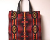 Red Pendleton Wool Tote Bag Overnight Travel Black Leather