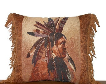 Western Pillow Southwestern Medicine Man Tapestry Pillow Tribal Inspired