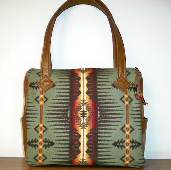 Pendleton Wool Brown Leather Purse Handbag Shoulder Bag