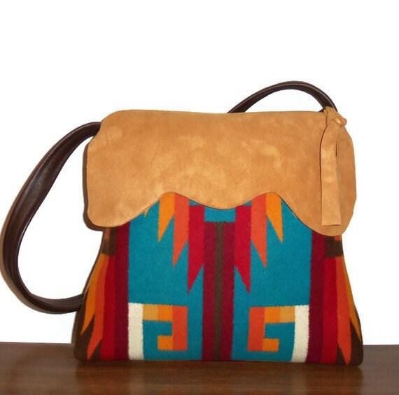 Pendleton Wool Purse Shoulder Bag Deerhide Suede Leather Trim