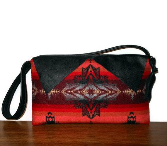 Pendleton Wool Purse Shoulder Bag Black Leather Trim