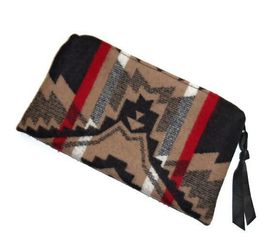 Pendleton Wool Clutch Bag Purse Black Leather Zipper Pull