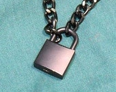 Slave Chain Collar Black Aluminum With Padlock  (COL132)